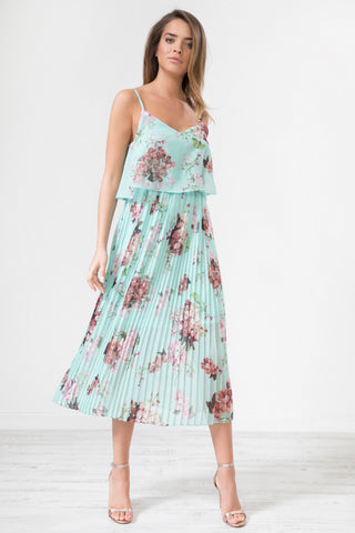 Mint Floral Print Pleated Cami Midi Dress by Urban Touch