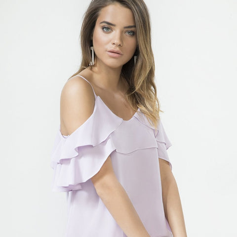 Lilac Frill Shoulder Cami Top