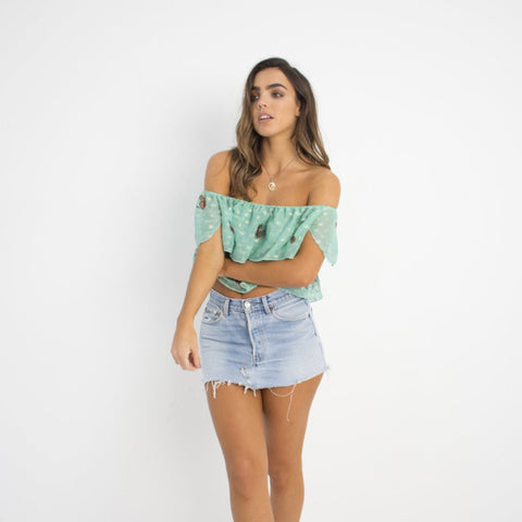 Wildflower Green Floral Crop Top by Wired Angel Ltd on OOSTOR.com