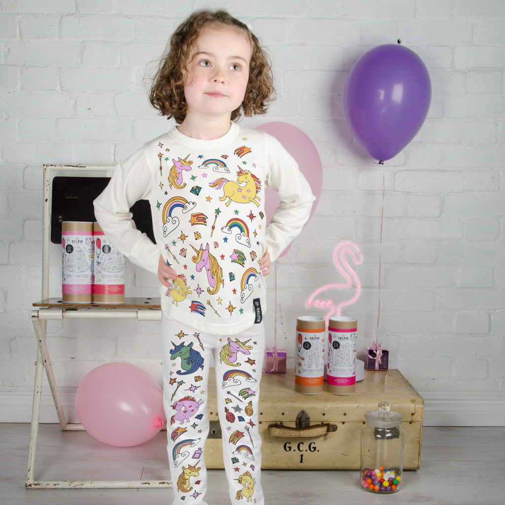 Unicorn Colour In Pyjamas With Fabric Pens