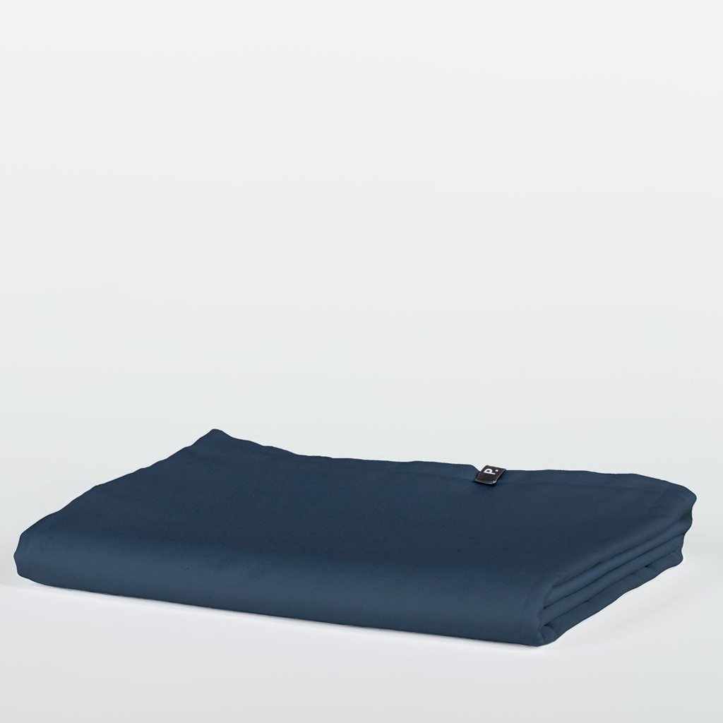 Obsidian Blue Pure Cotton Flat Bed Sheet by HOP Design on OOSTOR.com
