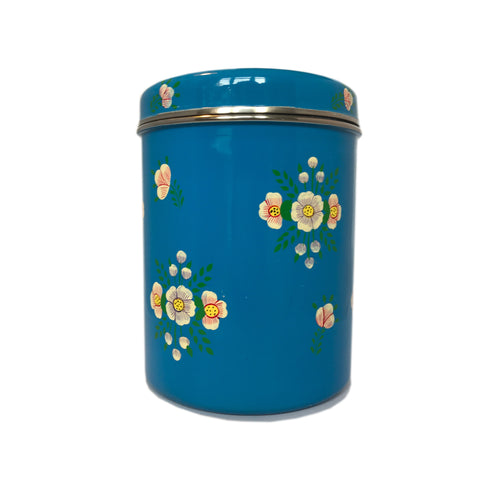 Azure Blue & White Posy Storage Jar by Jasmine White on OOSTOR.com