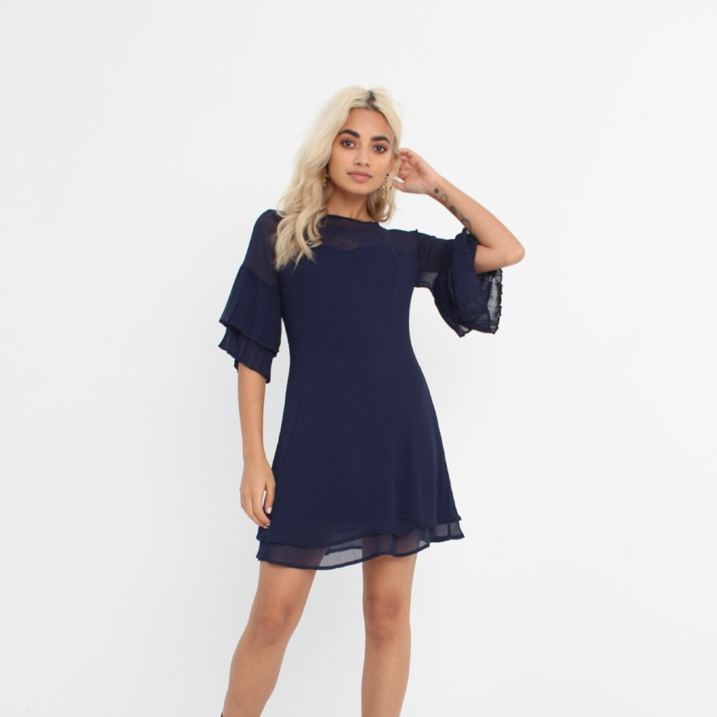Navy Pleated Dress by Wired Angel Ltd on OOSTOR.com