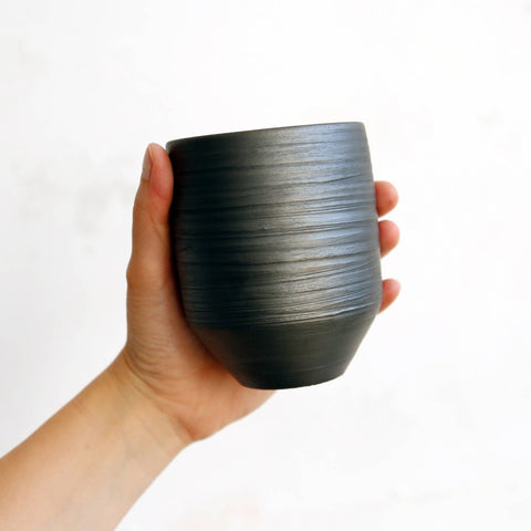 Tapered Black Pottery Cup by Studio Beate Snuka on OOSTOR.com