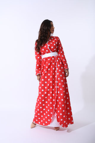 Red Monroe Polka Dot Dress by Zalinah White on OOSTOR.com