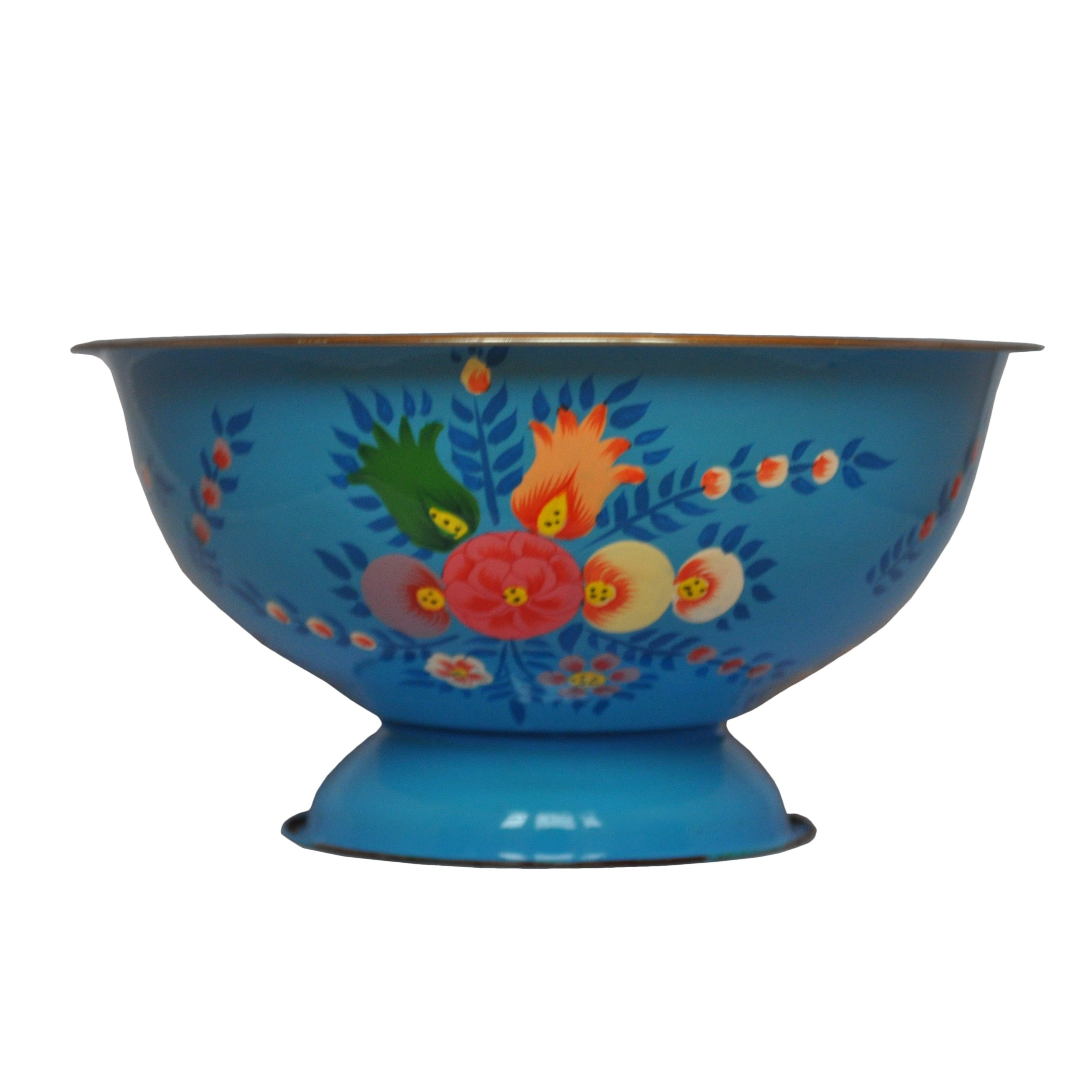 Bright Blue Enamel Bowl With Floral Splash by Jasmine White on OOSTOR.com