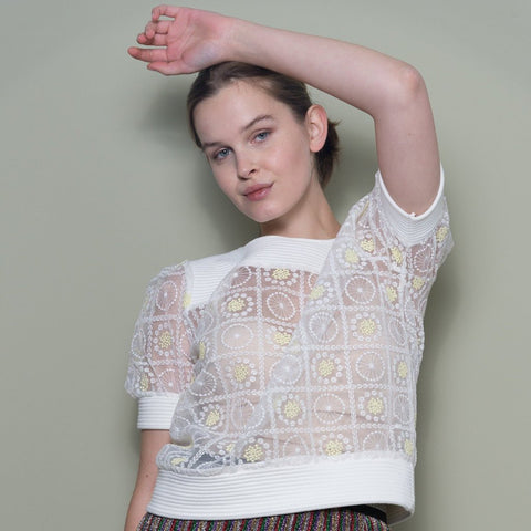 Embroidered Top With Short Sleeves by Minkie London on OOSTOR.com