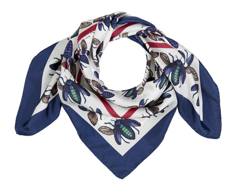 Blue and Green Jewel Beetle Scarf with Border by Farnworth & Cole on OOSTOR.com