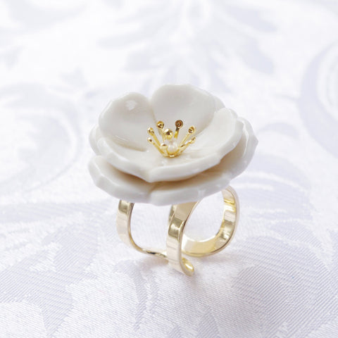 Porcelain Plum Blossom Statement Ring by POPORCELAIN on OOSTOR.com