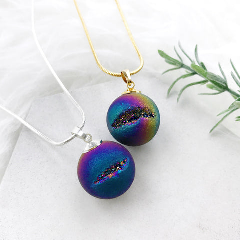 Aeon Titanium Quartz Orb Necklace by Eclectic Eccentricity on OOSTOR.com