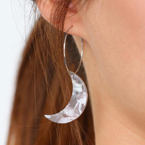 Astro Acrylic Crescent Moon Hoop Earrings by Eclectic Eccentricity on OOSTOR.com