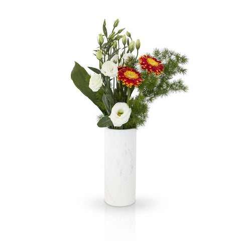 Real Carrara Marble Vase in Cylinder shape