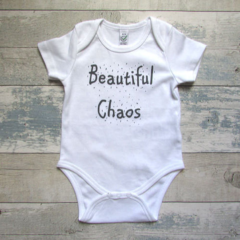 Beautiful Chaos Baby Grow - Screen Printed Organic Baby Clothes