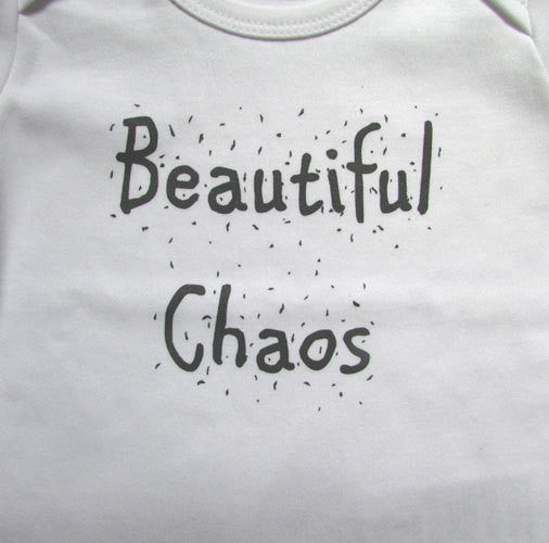 9df200204afd Beautiful Chaos Baby Grow - Screen Printed Organic Baby Clothes ...