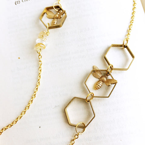 Hive and Seek Bee and Honeycomb Hexagon Necklace by Eclectic Eccentricity on OOSTOR.com