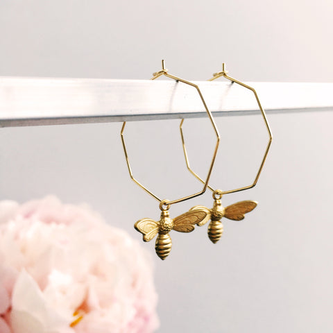 Best Beehive-iour Bee & Honeycomb Hoop Earrings by Eclectic Eccentricity on OOSTOR.com