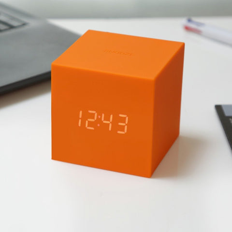 Orange Gravity Cube Click Clock by Gingko