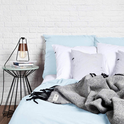 Pastel Blue Pure Cotton Flat Bed Sheet by HOP Design on OOSTOR.com