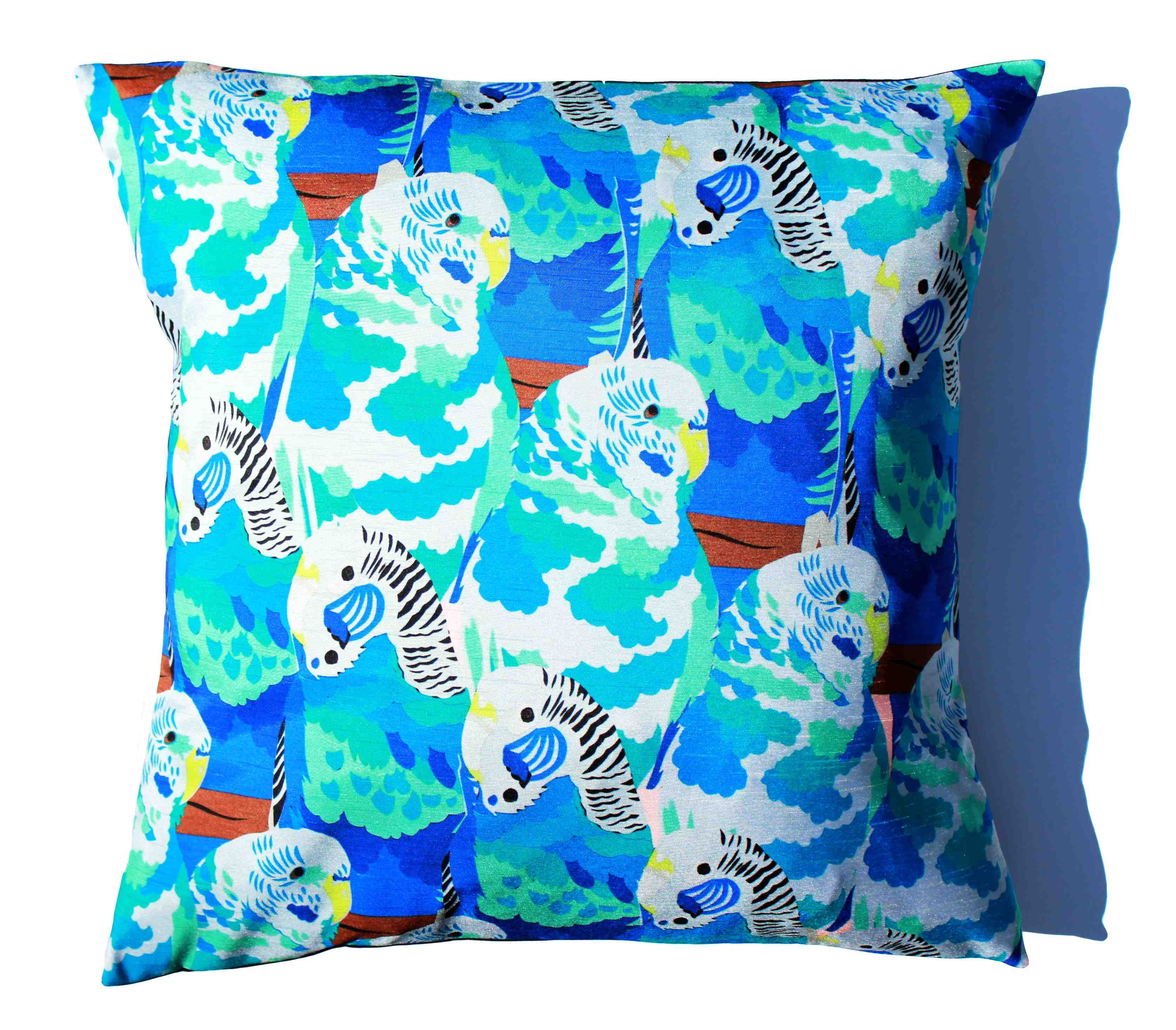 Baffling blue budgies cushion
