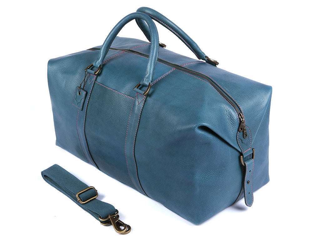 Archie's Duffle - Signature Blue w/Pink Stitching w/Side Pocket