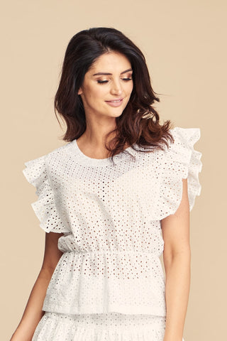 White Cotton Embroidered Bella Blouse with Frill by Angell