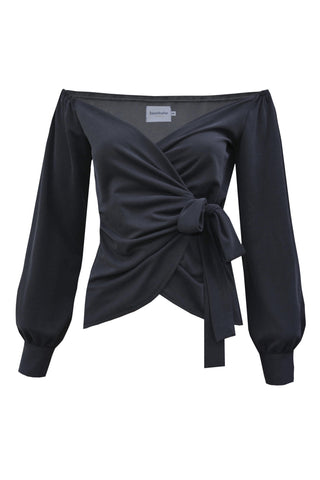 Black Wrap Blouse by Bombshe