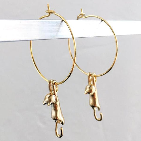Oh, Paw-lease Cat Hoop Earrings by Eclectic Eccentricity on OOSTOR.com