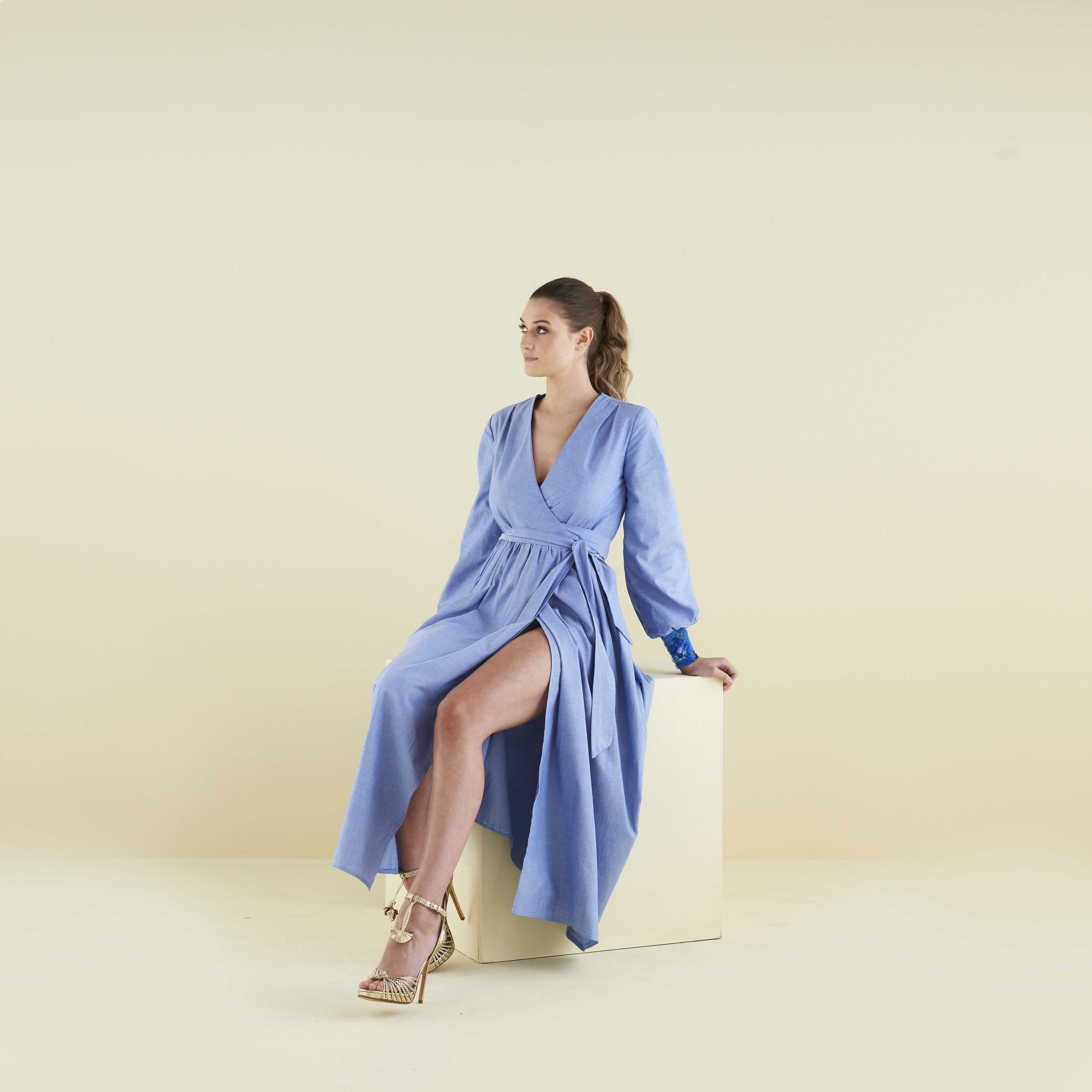 Lilody Maxi Wrap Dress in Cotton Chambray by CoCo VeVe on OOSTOR.com