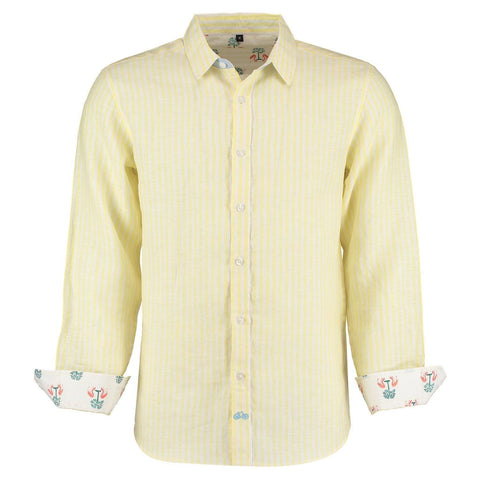 Kutch Yellow Stripe Linen Shirt by Tobias Clothing on OOSTOR.com