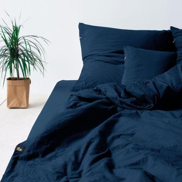 PURE COTTON FLAT BED SHEET (obsidian blue) by HOP Design on OOSTOR.com