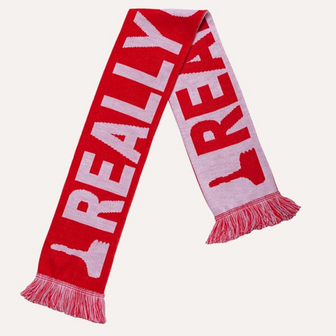 Red and White David Shrigley Really Good Football Scarf