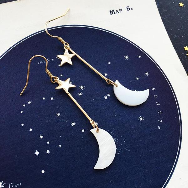 Dual Crescent Moon Drop Earrings by Eclectic Eccentricity on OOSTOR.com