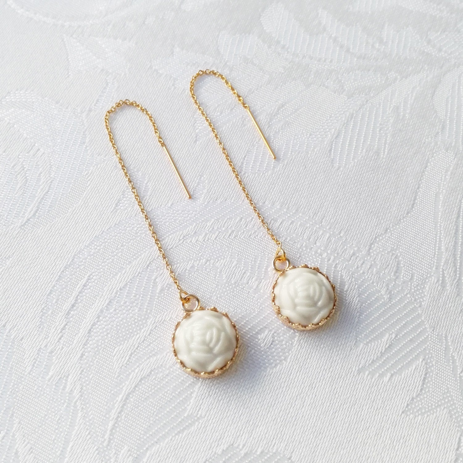 Mini Porcelain Rose With Gold-Filled Chain Earrings by POPORCELAIN on OOSTOR.com