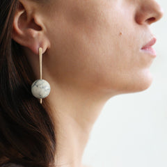 Marble & Brass Stud Earrings With Sterling Silver Posts by Studio Beate Snuka on OOSTOR.com