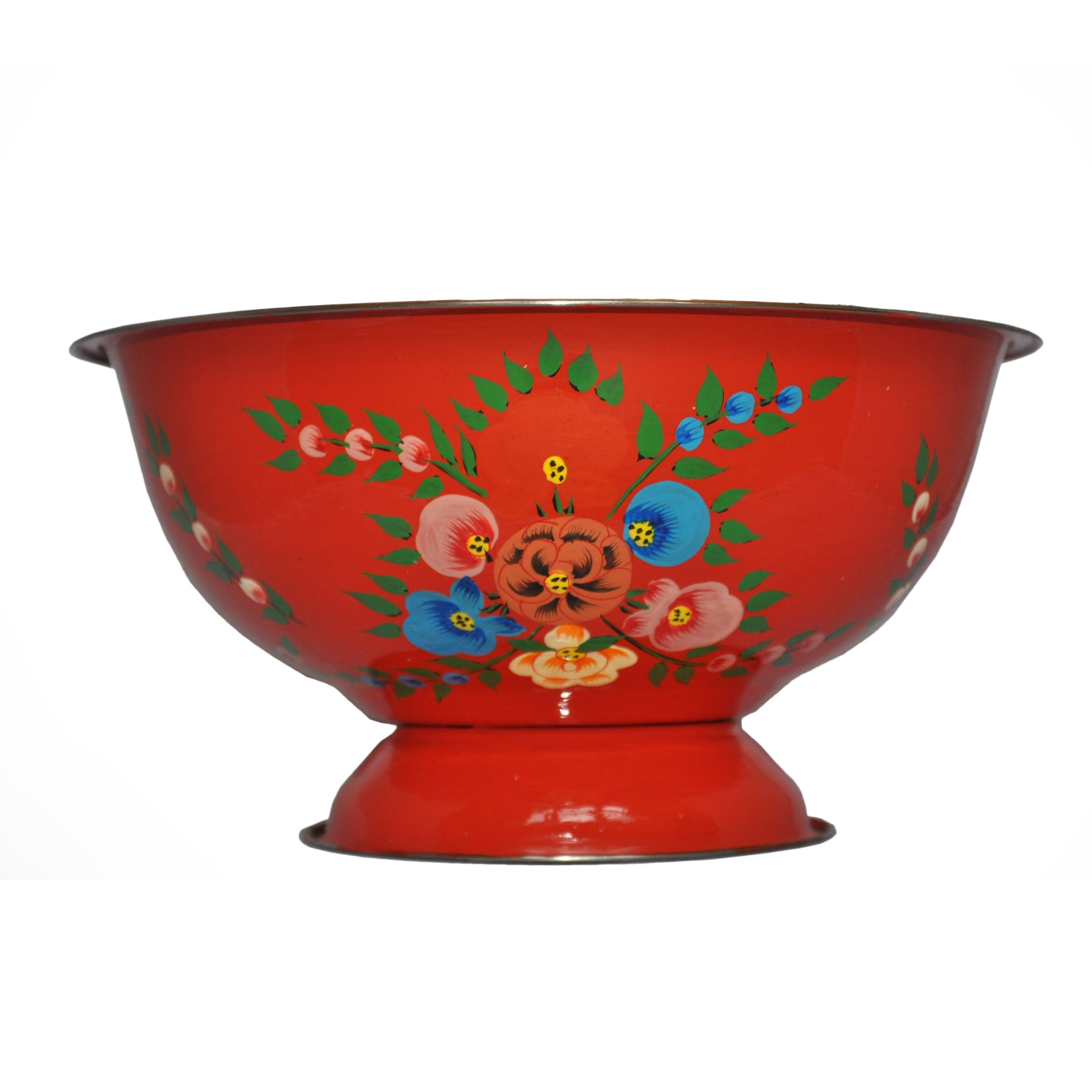 Bright Red Enamel Bowl With Floral Splash by Jasmine White on OOSTOR.com
