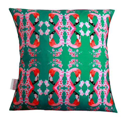 Fanciful flamingos and flowers cushion