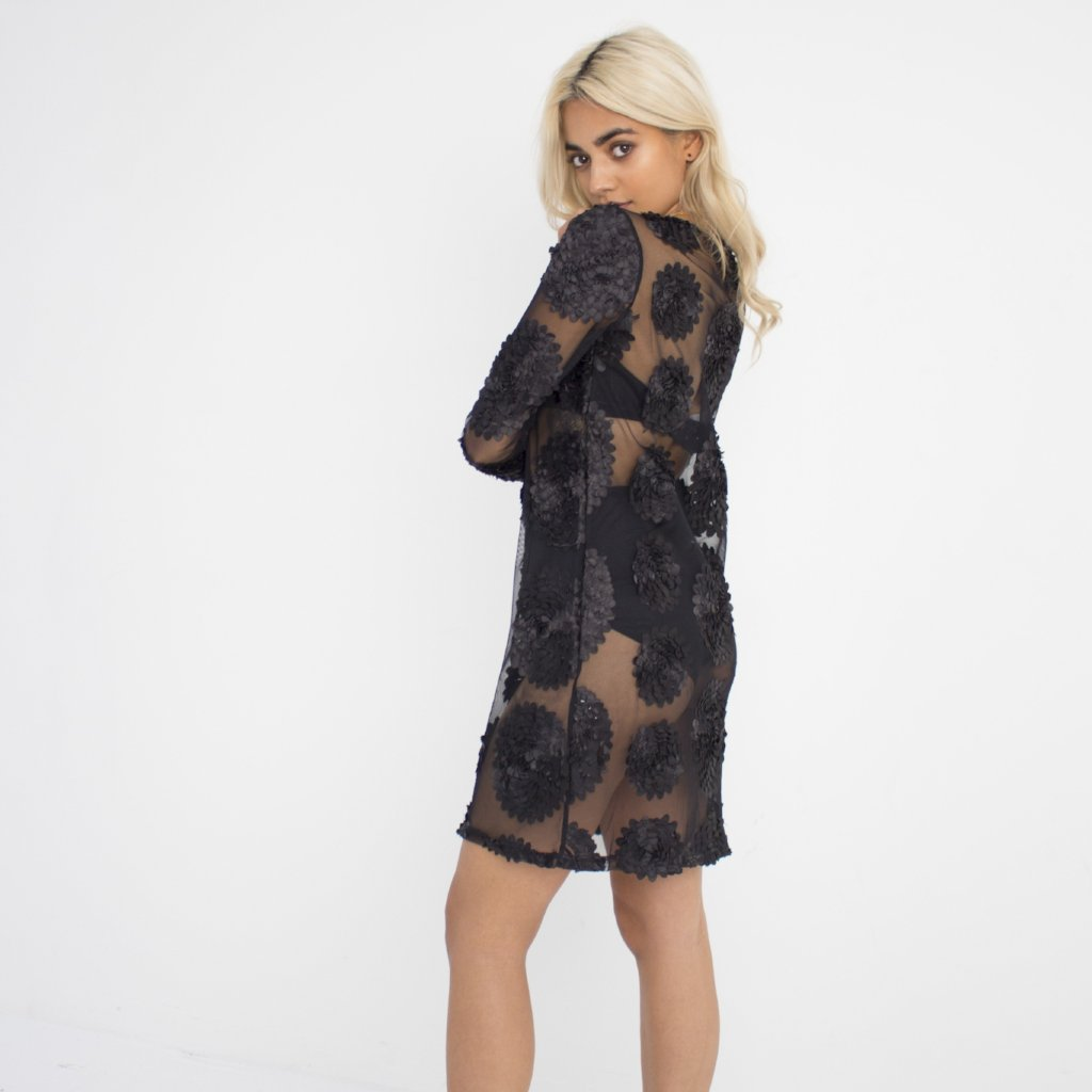 Black Flowerchild Mini Dress by Wired Angel Ltd on OOSTOR.com