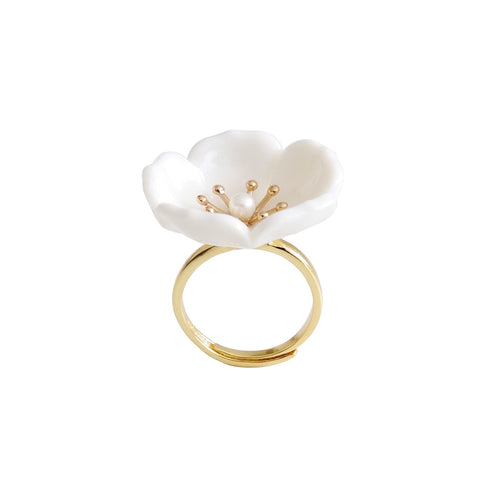 Snow-White Porcelain Plum Blossom Ring by POPORCELAIN on OOSTOR.com