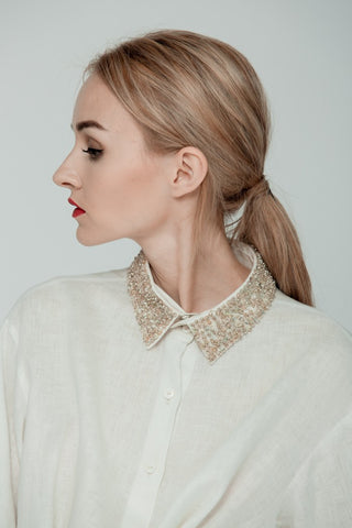Blouse with sparkling collar by dieuANH on OOSTOR.com