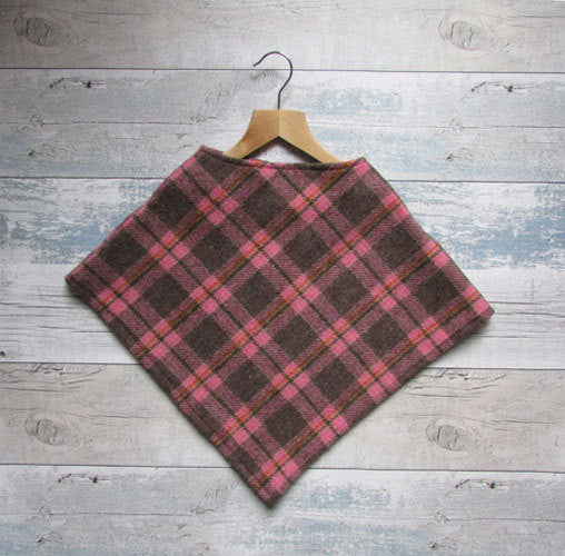 Girls Check Poncho
