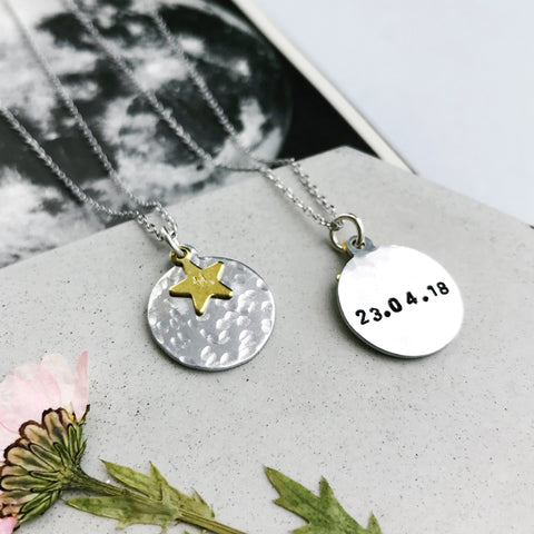 Halo Personalised Hammered Moon Necklace by Eclectic Eccentricity on OOSTOR.com