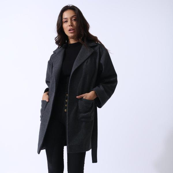 Grey Petite Wool Boyfriend Coat by Zalinah White on OOSTOR.com