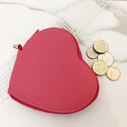 Leather Heart Coin Purse - Pink by SOLO on OOSTOR.com