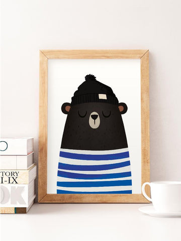 Hipster Bear with a Hat Print