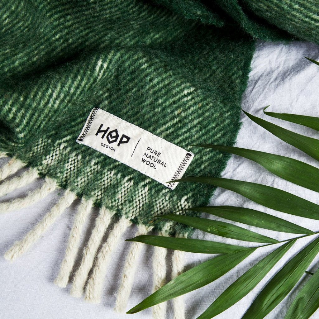Green Bottle RURU - XL Pure Wool Blanket by HOP Design on OOSTOR.com