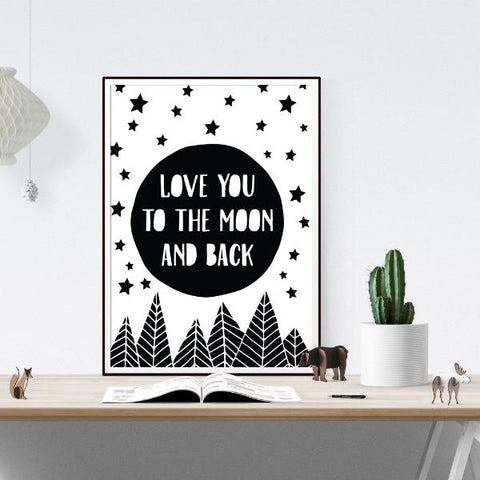 Love You to the Moon and Back Wall Art Print by The Native State