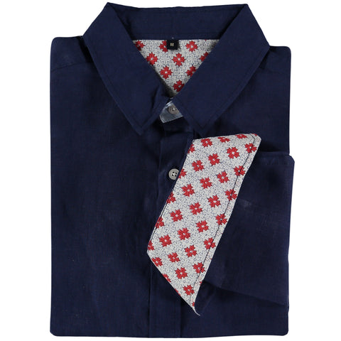 Karnataka Navy Linen Shirt by Tobias Clothing on OOSTOR.com