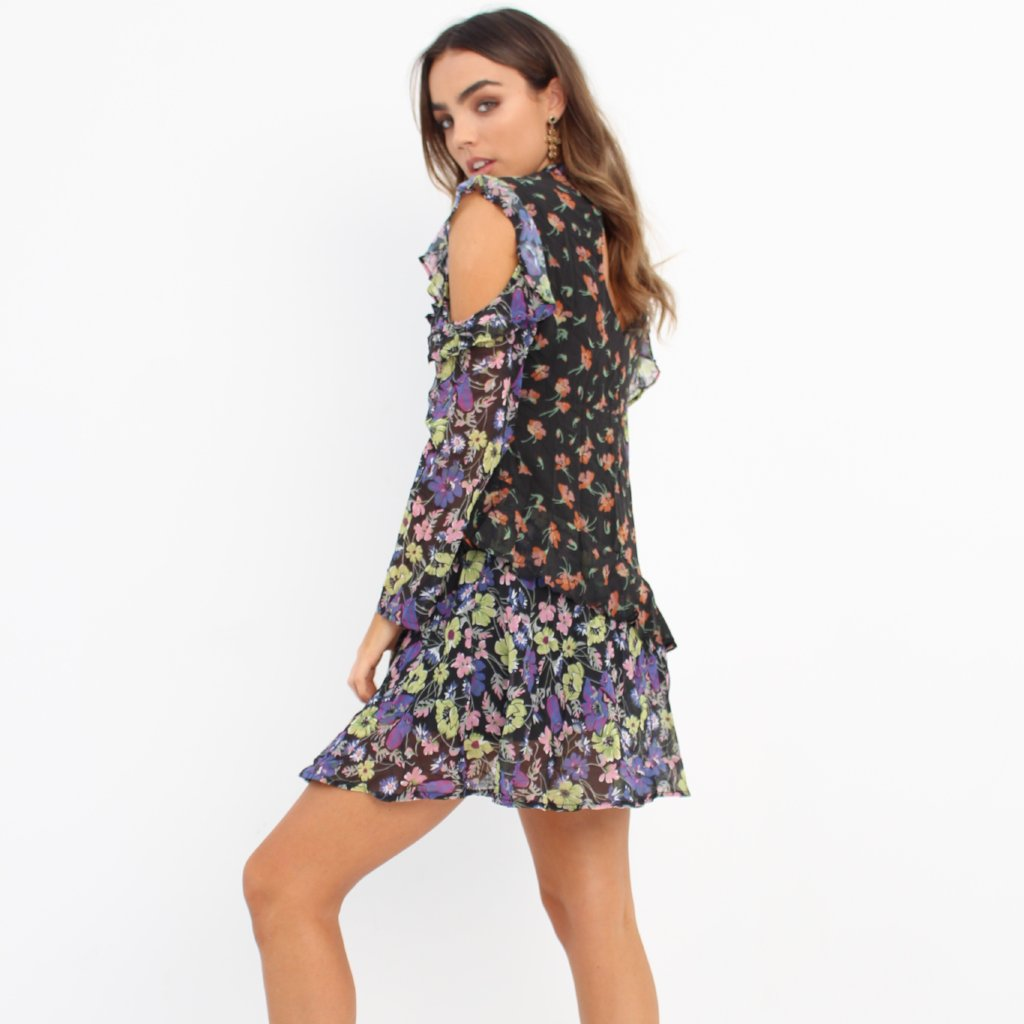 Mixed Floral Cold Shoulder Frill Dress by Wired Angel Ltd on OOSTOR.com