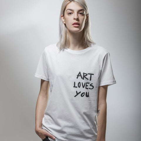 Women's White Art loves You T-Shirt by Vedrana Mastela on OOSTOR.com