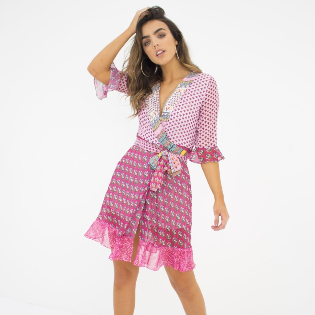 Ibiza Pink Mix Floral Wrap Dress by Wired Angel Ltd on OOSTOR.com